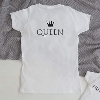 My 1st Years Monogrammed White 'Queen' Short Sleeved T-shirt