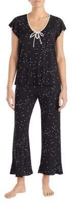 Kate Spade Two-Piece Dotted Ruffle Pajama Set