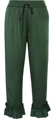 Mother of Pearl Finley Cropped Ruffle-Trimmed Satin-Crepe Tapered Pants