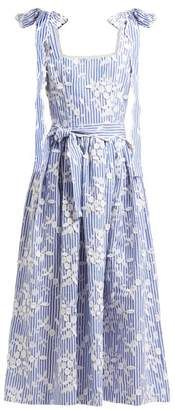 Luisa Beccaria Floral Embroidered Cotton Blend Seersucker Dress - Womens - Blue Stripe