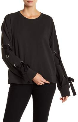 Vince Camuto French Terry Lace-Up Long Sleeve Sweater