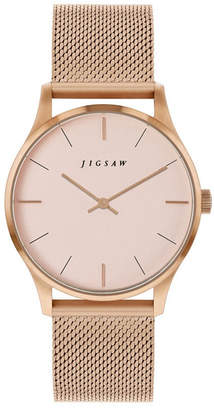 Jigsaw Ladies Watch, Round Rose Gold Stainless Steel Case, Rose Gold Dial, Stainless Steel Mesh Bracelet