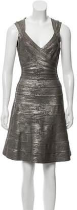 Herve Leger Breton Bandage Dress Grey Breton Bandage Dress