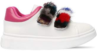 Colors of California Faux Leather Sneakers W/ Mink Fur