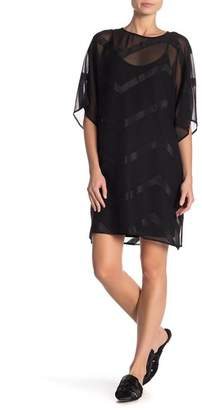 Vince Camuto Chevron Overlay Shift Dress