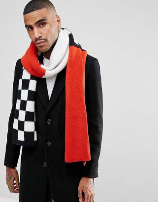Asos Knitted Scarf In Red With Checkerboard