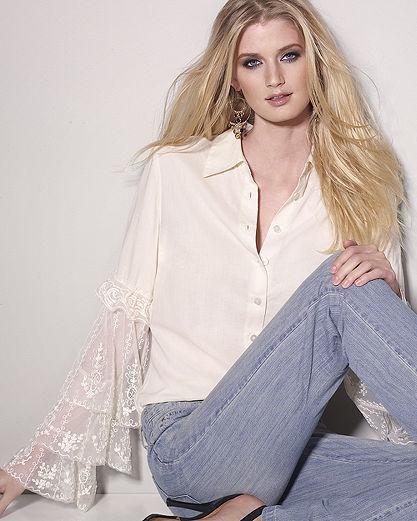 Lace-Sleeve Cotton Blouse
