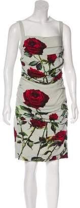 Dolce & Gabbana Ruched Rose Print Dress