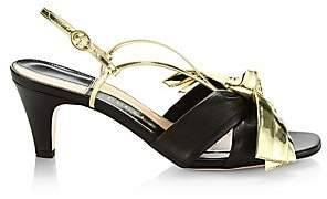 Gucci Women's Daphne Leather Mid-Heel Sandals with Bow