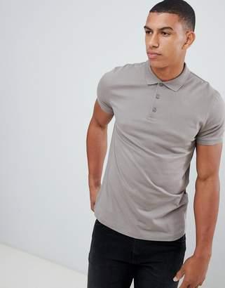 BEIGE Asos Design ASOS DESIGN jersey polo in