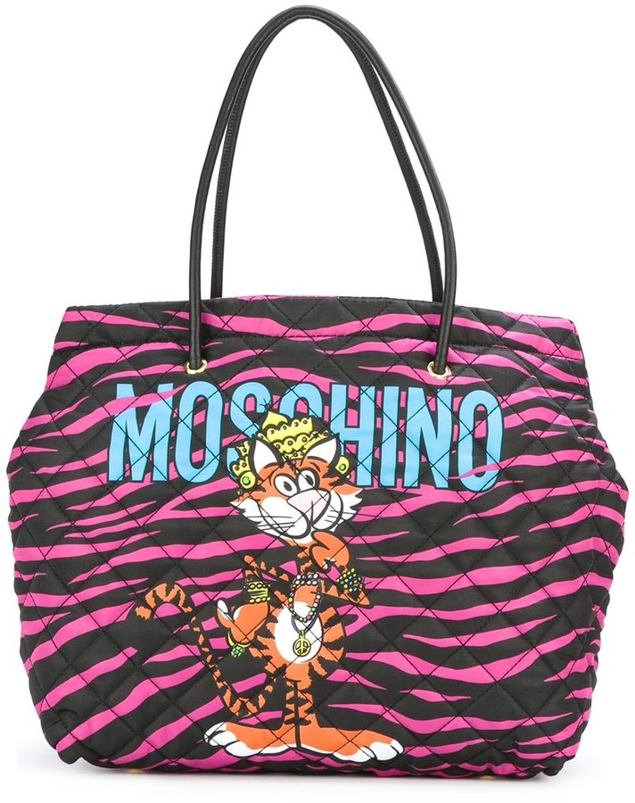 Moschino Moschino jewelled tiger print tote