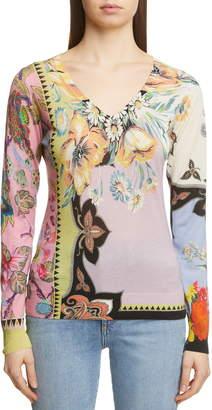 Etro Floral Print Silk & Cashmere Blend Sweater