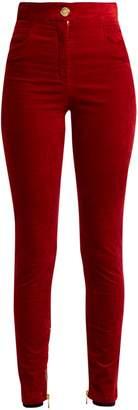 Balmain Stretch-velvet skinny trousers