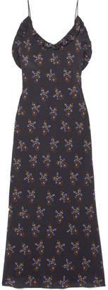 Les Rêveries Ruffled Floral-print Silk Crepe De Chine Maxi Dress