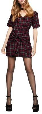 BCBGeneration Plaid Front-Tie Shift Dress