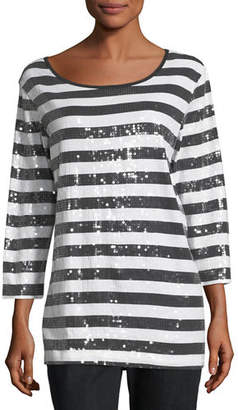 Joan Vass Sequined Striped Tunic, Plus Size $238 thestylecure.com