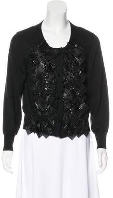 Oscar de la Renta Ruffled Beaded Cardigan