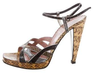 Miu Miu Snakeskin Ankle Strap Sandals