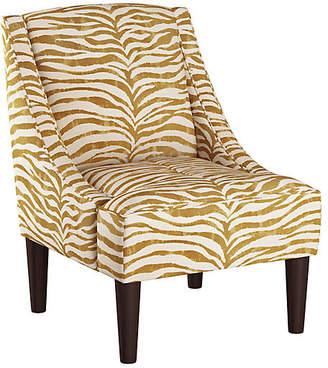 One Kings Lane Quinn Swoop-Arm Accent Chair - Ochre Zebra