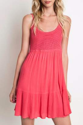 Umgee USA Coral Crochet Dress