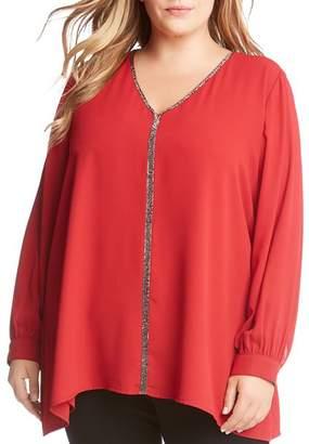 Karen Kane Plus Sparkle Long Sleeve Top