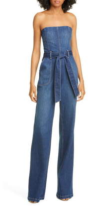 Alice + Olivia Jeans Gorgeous Susy Strapless Denim Jumpsuit