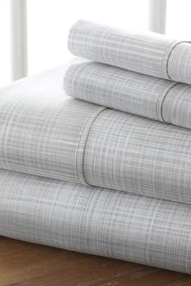 IENJOY HOME Home Spun Premium Ultra Soft Thatch Pattern 4-Piece California King Bed Sheet Set - Gray