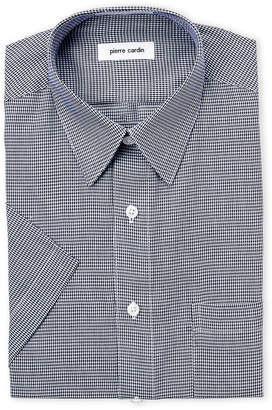 Pierre Cardin Navy Puppytooth Short Sleeve Dress Shirt