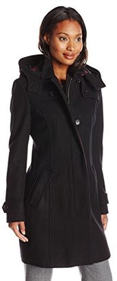 Tommy Hilfiger Women's Single-Breasted Wool-Blend Coat with Hood $240 thestylecure.com