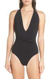 Tory Burch Tie Front Halter One-Piece Swimsuit