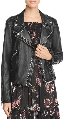 Free People Studded Vegan Faux-Leather Moto Jacket $198 thestylecure.com