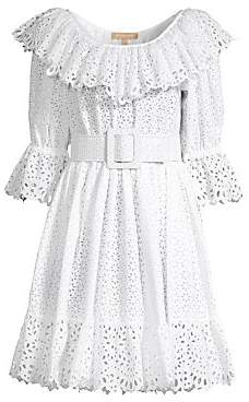 Michael Kors Women's Eyelet Poplin Dirndl Dress - Size 0