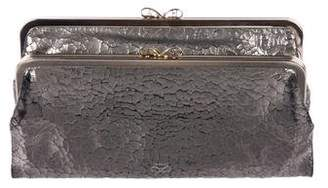 Anya Hindmarch Metallic Distressed Leather Clutch