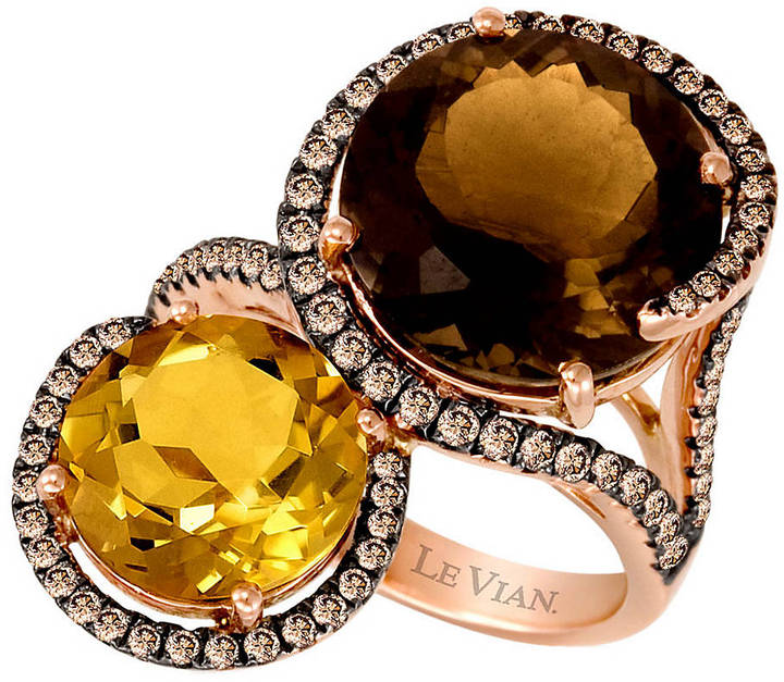 LeVian LE VIAN Smoky Quartz Citrine Ring with Diamonds in 14 Kt. Strawberry Gold