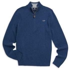 Vineyard Vines Little Boy's& Boy's Half Zip Cotton Blend Sweater