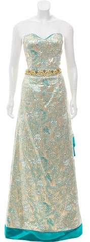 John Paul Ataker Strapless Brocade Gown w/ Tags