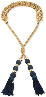 Trina Turk Gold-Tone Navy Tassel Open Lariat Necklace