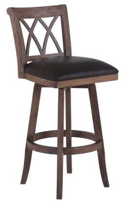 """DreamBone Armen Living Sonoma 26"""" Counter Height Swivel Wood Barstool with Finish and Brown Pu"""