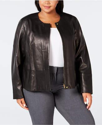 Calvin Klein Plus Size Leather Moto Jacket