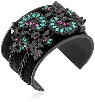 Steve Madden Casted Floral Patterned Bangle Bracelet