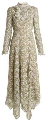 Erdem Shen High Neck Floral Guipure Lace Dress - Womens - Green