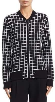 Akris Punto Grid Pattern Bomber Jacket