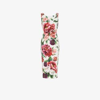 Dolce & Gabbana fitted peony-print dress