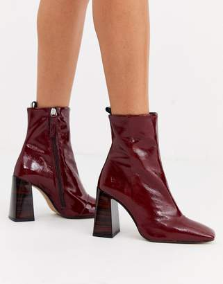 Office Alltogether square toe leather heel boot in oxblood