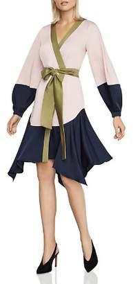 BCBGMAXAZRIA Color-Block Wrap Dress