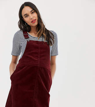 d5f867d4132 New Look Maternity cord buckle pinny dress in burgundy