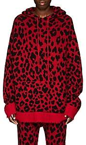 R 13 Women's Leopard-Pattern Cashmere Hoodie - Red