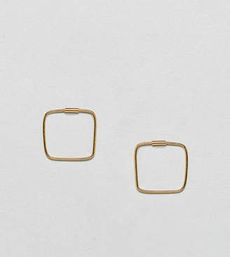 Asos Design DESIGN Gold Plated Sterling Silver Square Hoop Earrings