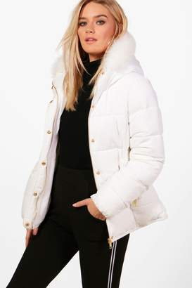 boohoo Fitted Padded Jacket With Faux Fur Hood