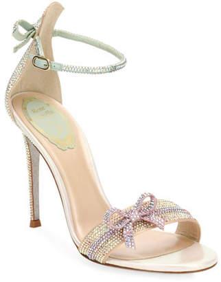 Rene Caovilla Crystal Beaded Satin Sandals with Bow